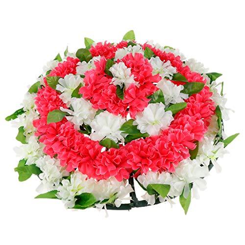 Perfeclan Chrysantheme Kranz Grabblumen Grabschmuck Dekoration für Totensonntag Allerheiligen und Trauerfeier, 52x6cm - 4 (Grab Blumen Kranz)