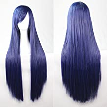 """kissparts 32 """"azul oscuro recto pelo cosplay peluca con peluca y peine ¡"""