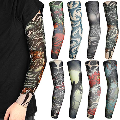 Rovtop 8 Stück Tattoo Ärmel Arm Tattoo Strumpf Unisex Nylon Tattoo Arm Temporäre Tattoos für Karnevalsfeier Halloween ( Japanische Stil Tattoos)