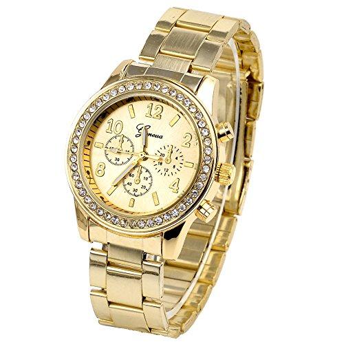 JSDDE Unisexe Montre de Luxe à Quartz Bracelet en Alliage Métal Décoration Troit Yeux Cadran 3.7cm (Doré)