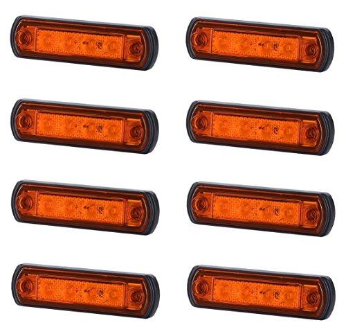 8 x 4 SMD LED Orange Begrenzungsleuchte Seitenleuchte 12V 24V mit E-Prüfzeichen Positionsleuchte Auto LKW PKW KFZ Lampe Leuchte Licht Gelb Universal