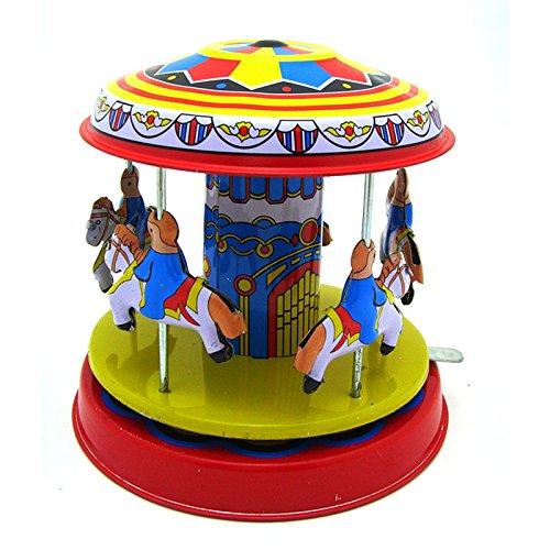 Andensoner Juguete Merry-Go-Round de la Lata, Reloj clásico de la Vendimia Wind Up Merry-Go-Round niños Juguetes de la Lata de los niños con la Llave