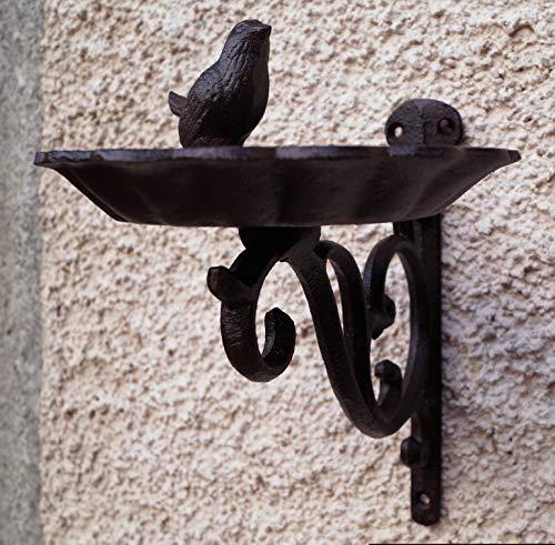Gusseisen Wand Vogeltränke mit Vogel 22x25cm Gartendeko Vogelbad Rustikal