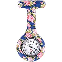 SODIAL(R) Blue pink Peony pattern Silicone Nurses Brooch Tunic Fob Pocket Watch Stainless Dial