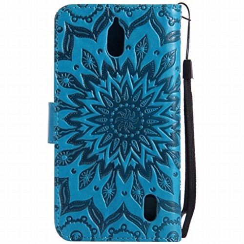 LEMORRY Huawei Y625 Custodia Pelle Cuoio Flip Portafoglio Borsa Sottile Bumper Protettivo Magnetico Morbido Silicone TPU Cover Custodia per Huawei Y625, Fiorire Nero Blu