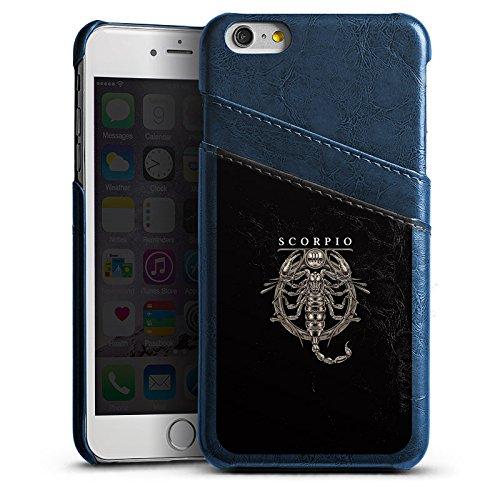 Apple iPhone 5s Lederhülle Leder Case Leder Handyhülle Skorpion Sternzeichen Astrologie Leder Case Navyblau