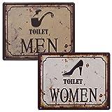 2WC carteles Toilet Women & Toilet Men Retro Chapa 3d Baños Cartel