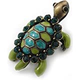 Vintage Inspired Green Enamel, Crystal 'Turtle' Brooch In Bronze Tone - 43mm Length