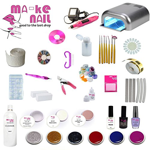 Kit ricostruzione unghie ma-ke nail 10 gel uv giove completo lampada 36 w + fresa professionale + cd corso + nail art + pennelli + tips + accessori