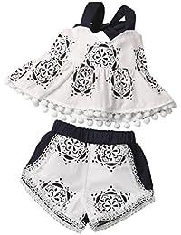Bebe Vestidos, Switchali Recién nacido Infantil Niños moda Algodón Impresión Borla Camisa top+Pantalones cortos Bebé Niña Ropa Set de trajes 0~18 meses