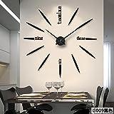 Aemember Wall Mount_Amazon Mirror Wall Clock Clock Wohnzimmer Wanduhr Diy Mute Großhandel, G 009 - Schwarz