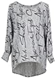Emma & Giovanni - Pullover / Sweatshirt Oversize- Damen (M/L, Grau)