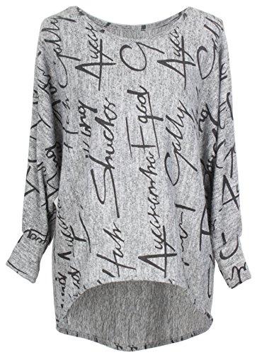 Emma & Giovanni - Pullover/Sweatshirt Oversize- Damen (XL/XXL, Grau)