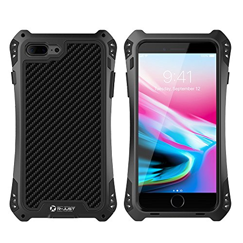 iphone 8 Plus Hülle, iPhone 8 Plus Metal Case, Feitenn Armor Aluminium Metall Schutzhülle Military Heavy Duty Cover Hard Fall Back Cover Outdoor Bumper Case für Apple iphone 8 Plus (Schwarz) Schwarz