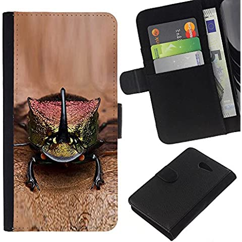 Leather Etui en cuir || Sony Xperia M2 || gecko lagarto marrón animales exóticos @XPTECH