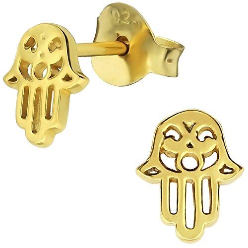 EYS JEWELRY Damen Ohrstecker Hand der Fatima 925 Sterling Silber vergoldet 7 x 6 mm im Schmucketui Hamsa Ohrringe