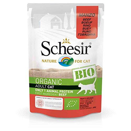 Schesir Beutel Frische Bio Rindfleisch für Katzen–85g