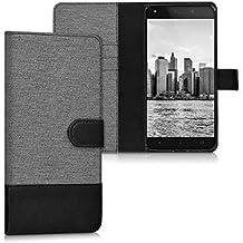kwmobile Funda para bq Aquaris M5.5 / M 2017 - Wallet Case plegable de cuero sintético - Cover con tapa tarjetero y soporte en gris negro