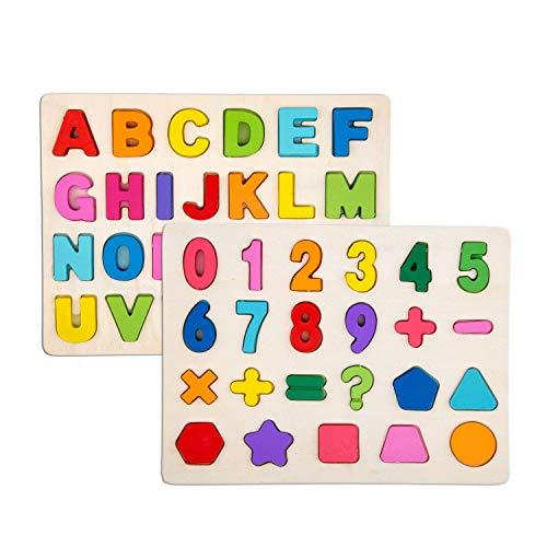 Alytimes Alphabet-Blöcke, die Puzzlespiel Lernen | Lernspielzeug aus Holz für Großbuchstaben und Zahlen - Ideal für das frühe Lernen im Kindergarten für Kleinkinder und Vorschulkinder