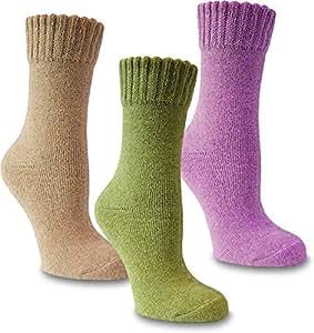 3 Paar Damen Angora Wollsocken - warme Wintersocken Farbe Mehrfarbig Größe 35/38