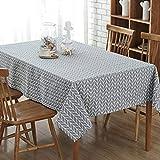 GWELL Leinen Tischdecke Eckig Abwaschbar Tischtuch Pflegeleicht Schmutzabweisend 7 Farbe & 10 Größe wählbar graue Streifen 100 * 140cm