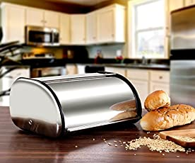 """13.8""""x 8.3""""x 5.7"""" Stainless Steel Metal Roll Top Bread Box for Kitchen, Bread Bin, Bread Storage and Bread Holder, Silver"""