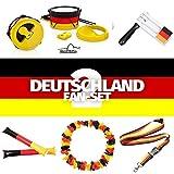 Deutschland Fan-Set mit WM Fanartikel z.B. Fahne, Hut, Becher, Rassel, Stirnband