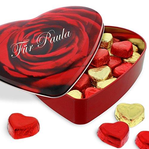 Sweetheart-Pralinenherz mit Ihrer individuellen Namens-Gravur - das genußvolle Schokoladen-Geschenk zum Valentinstag - gefüllt mit Nougat-Pralinen-Herzen 320g
