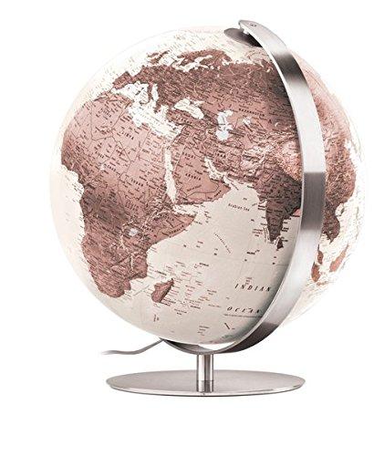 ZFB 3703: Handkaschierter Leuchtglobus 37 cm Durchm., moderne Kartografie zweifarbig in cremeweiß/beigebraun, Meridian und Fuß aus Edelstahl (Design Globus)
