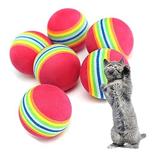 10xNamgiy pelotas de juguete para perros, juguete interactivo para animales, juguete de ejercicio con campana, espuma suave, juguetes para animales arcoíris, 3,5 cm