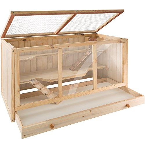 Tectake gabbia per roditori in legno | tre piani | tetto a griglia apribile | ca. 95x50x50 cm