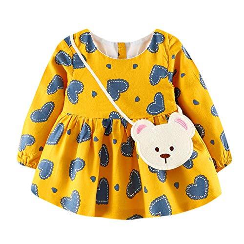 jgashf Baby Mädchen Kleid kleine Tasche Set Niedlichen Kleinkind Langarm Druckkleider Sommer für 6-24M(Gelb,12)