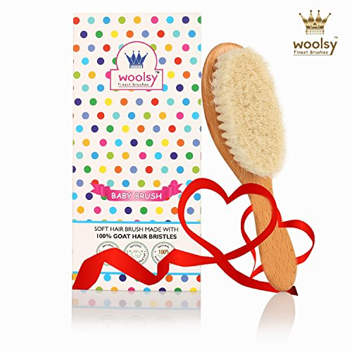 Woolsy™ 100% Natural Wooden Baby Hair Brush ~ Made From UltraSoft Organic Goat Bristles ~ Helps to Prevent Cradle Crap ~ Perfect Baby Product ~ For New Borns & Toddlers