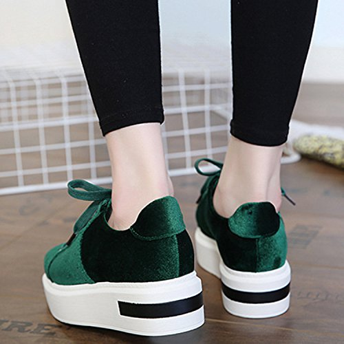 Oasap Women's Round Toe Lace-up Flat Platform Suede Shoes green