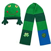 Kidorable Child Knitted Frog Design Knitwear Green Scarf and Hat Set