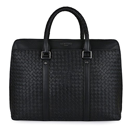 Da Milano Leather Black Laptop Bag (CB-1969M_BLACK_MAT)