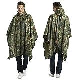 Croch Regenponcho für Herren und Damen - Multifunktions Camouflage Regenmantel