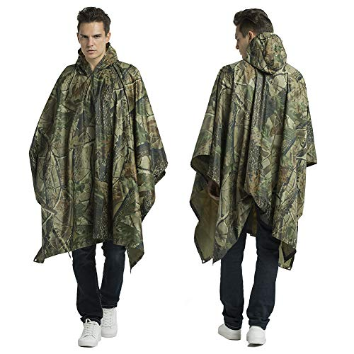 Croch 1 Pcs Rain Poncho, Multi-Functional Camouflage Hooded Raincoat for Camping,Hiking,Fishing Outdoor Activities