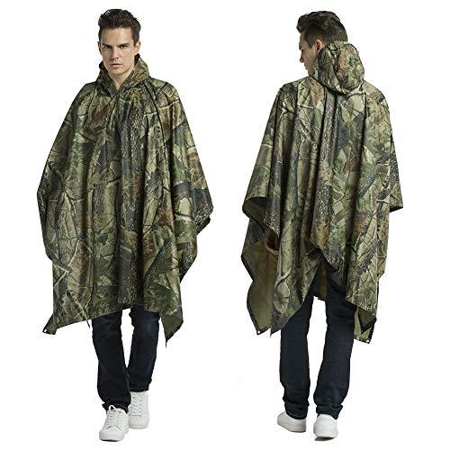 Croch Regenponcho für Herren und Damen - Multifunktions Camouflage Regenmantel mit Kapuze für Reise, Camping, wandern, Angeln und Fahrrad Fahren