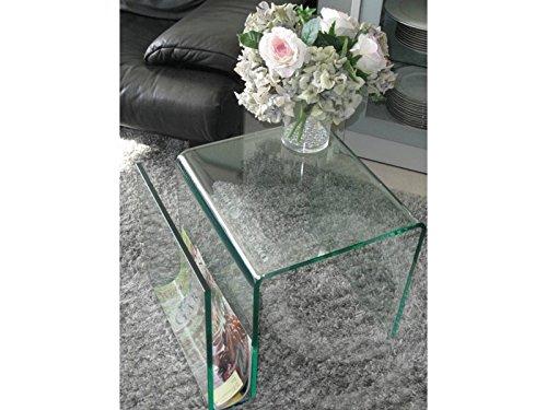 Beistelltisch mit Zeitungsständer Glas 48x42x38 Sale -