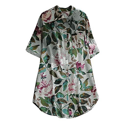 Asalinao Damen Floral bedruckten Oansatz Kurzarm Lässige Vintage Shirts Bluse Top