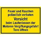 Warnschild aus Kunststoff - Feuer und Rauchen polizeilich verboten -- 45 X 30 cm