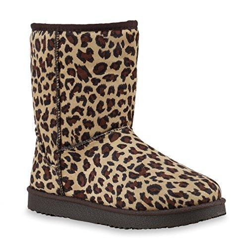 Damen Schuhe Schlupfstiefel Boots Winterstiefel Leopard Braun