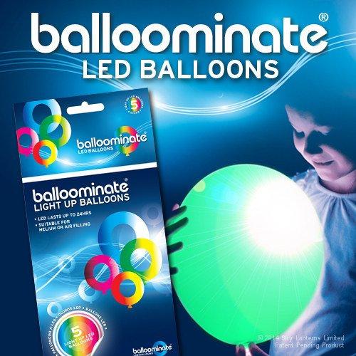 5x Luftballons Leuchtende BALLOOMINATE Green-LED Licht Grün feste