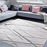 "A2Z Rug Contemporary Area Rug Modern White Salvador 9957 140x200 cm - 4'6"" x6'6 ft"