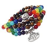 Young & Forever Multicolor Crystal 108 Beads Tiger's Eye 7 Chakra Reiki Healing Multi-Strand Bracelet For Women , Men, Girls, & Boys