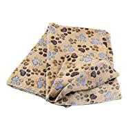 Hrph Mignon Floral Pet Chaud Paw Print Dog Puppy Fleece Blanket Souple Mat de Lit