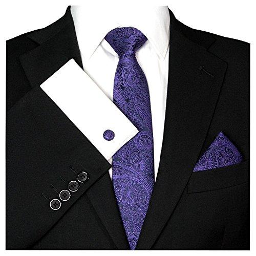 GASSANI 3- SET Krawatte & Einstecktuch Manschettenknöpfe Schwarz Violett BINDER Schmale KRAVATTE zum ANZUG VERLOBUNG HOCHZEIT HERREN SCHLIPS Hochzeitskrawatte