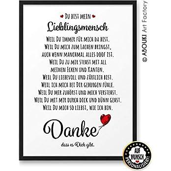 DANKE Liebeserklärung ABOUKI Kunstdruck Poster Bild auf Wunsch mit Namen personalisiert Geschenk-Idee Frauen Männer Freund Freundin Liebes-Paar optional mit Holz-Rahmen