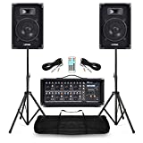 Power Dynamics Complete Band PA Speaker System 400w with 8 Channel Bluetooth Mixer